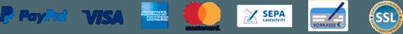 Paypal, Visa, American Express, Mastercard, Sepa, Vorkasse und alles SSL-Verschlüsselt